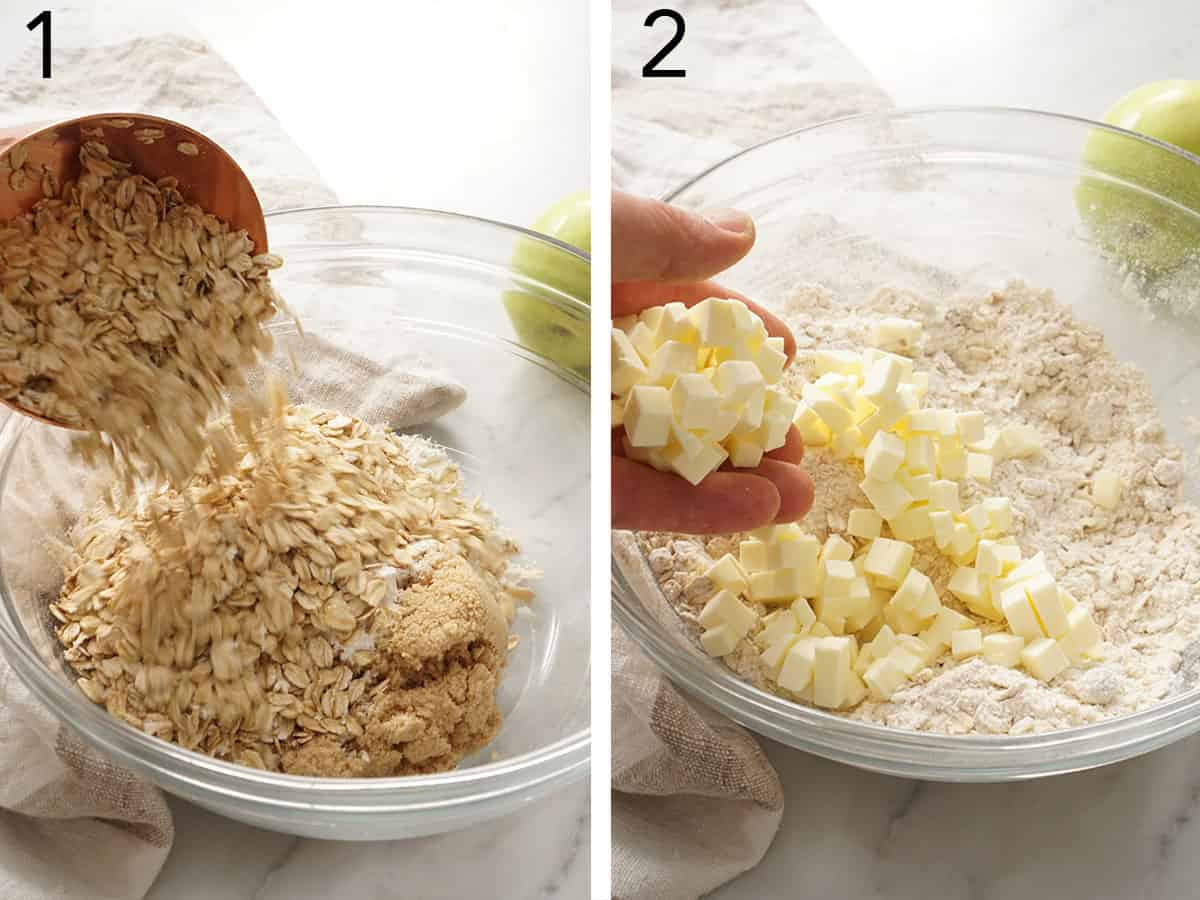 Apple crisp topping getting mixed in a glass bowl.