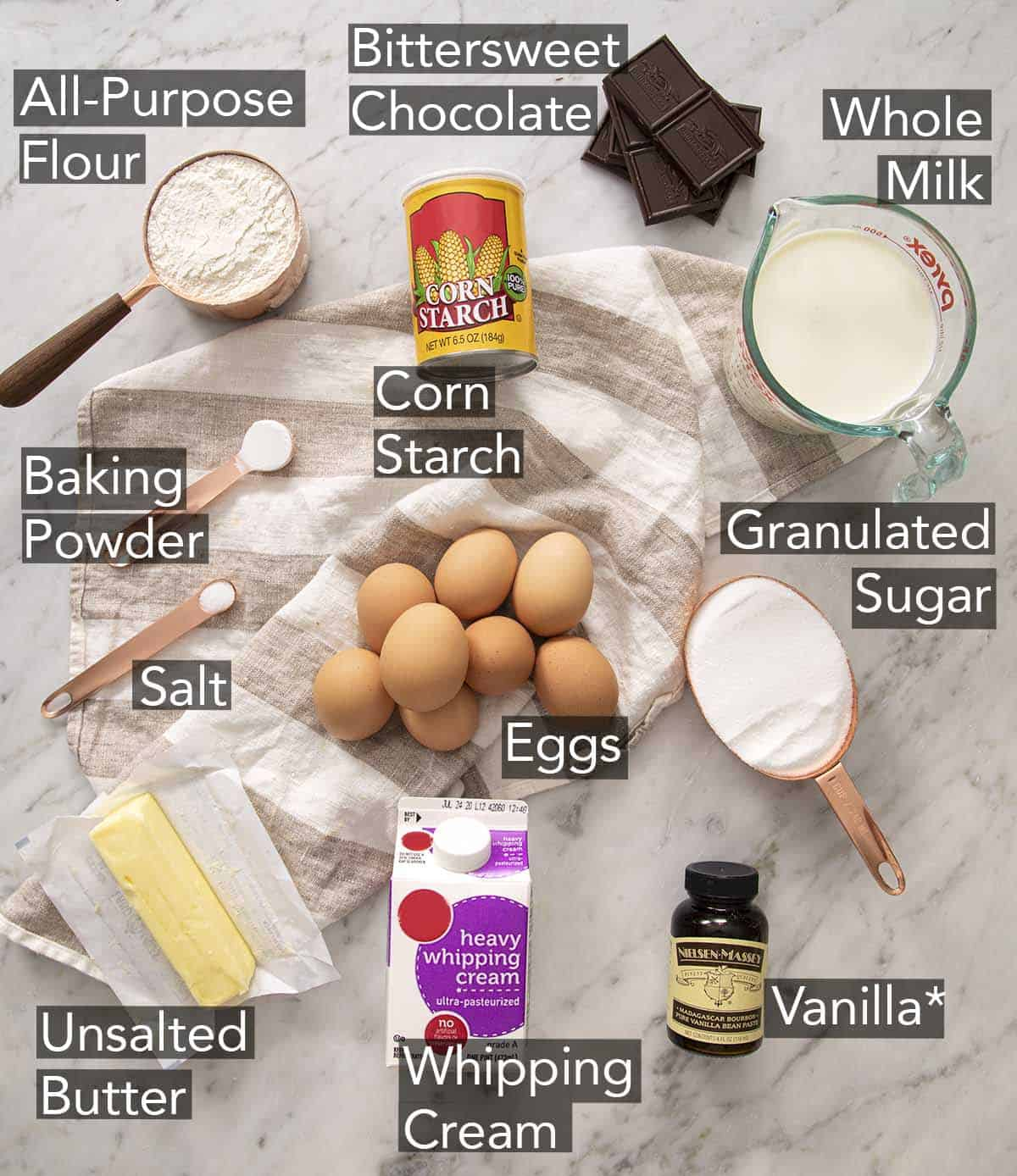 Ingredients to make Boston Cream Pie on a counter.