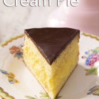 Boston cream pie with chocolate ganache.