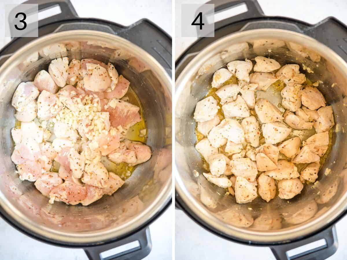 Two photos showing how to brown chicken in an instant pot