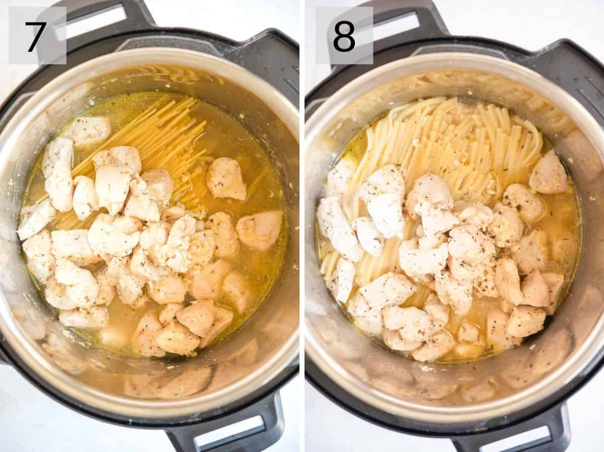Two photos showing before and after cooking chicken alfredo in an Instant Pot