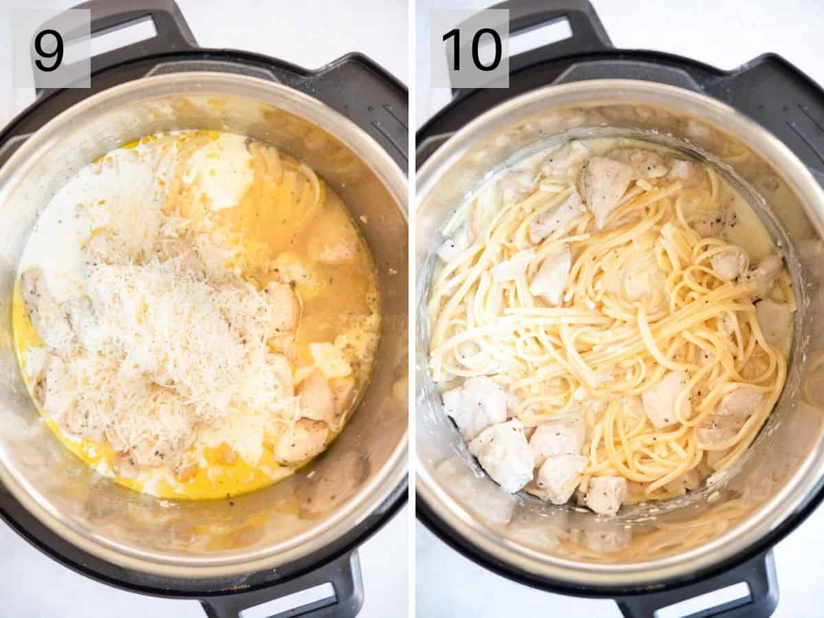 Two photos showing how to make a creamy alfredo sauce in an Instant Pot