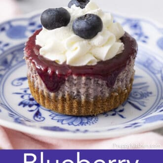 A single Mini Blueberry Cheesecake on a blue and white plate.
