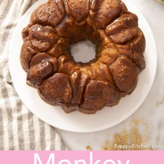 A bundt of monkey bread on a white plate.
