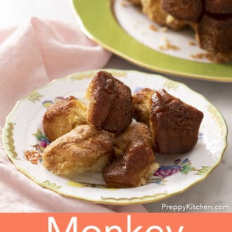 Pieces of monkey bread on a small plate.