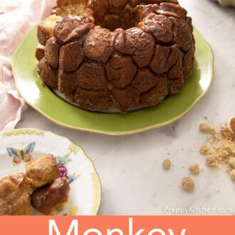 A loaf of monkey bread on a green plate.