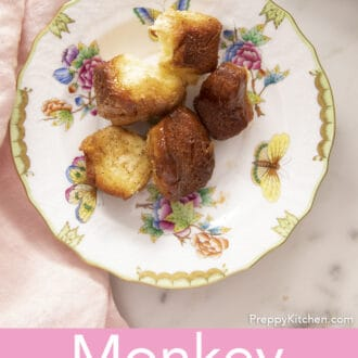 Pieces of monkey bread on a porcelain plate.