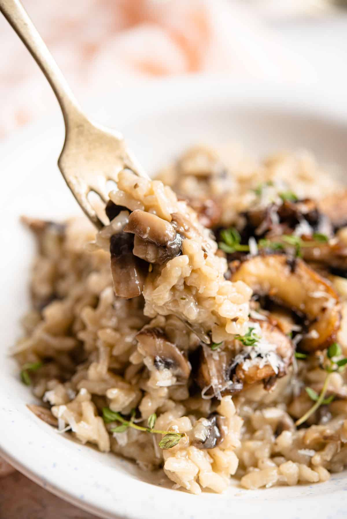 A close up of mushroom risotto on a fork