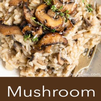 A pinterest graphic of mushroom risotto