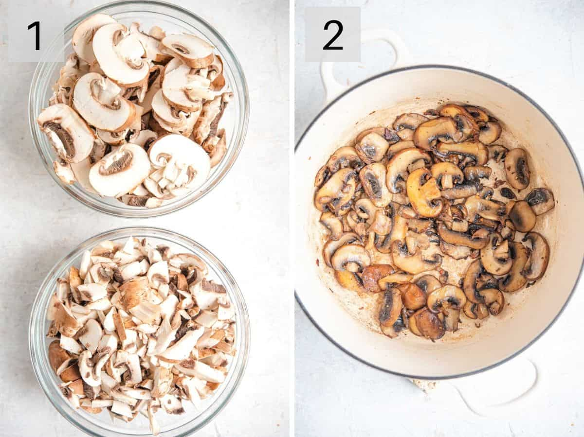 Two photos showing how to slice, chop and brown mushrooms