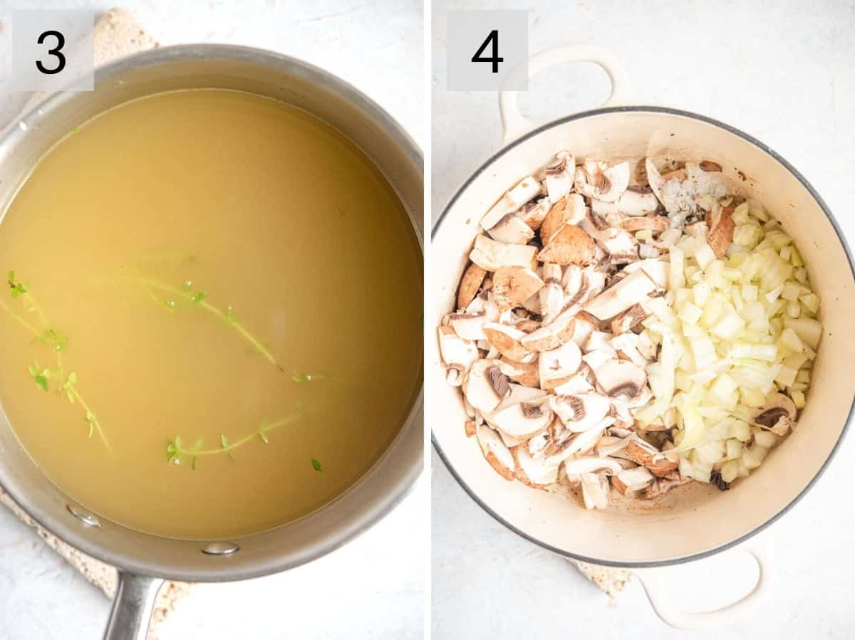 Two photos showing how to prepare stock, mushrooms and onions for making risotto