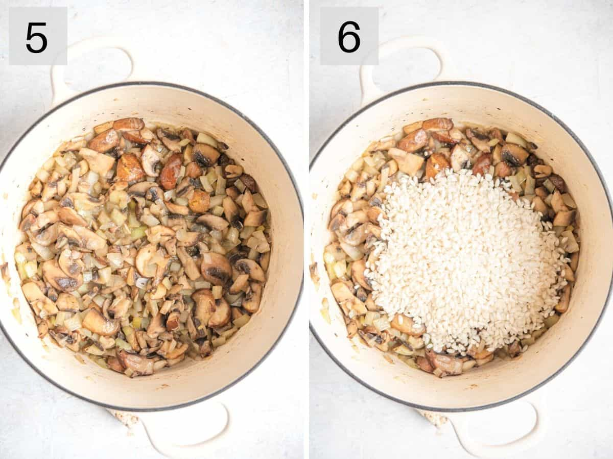 Two photos showing the first stages of making a risotto