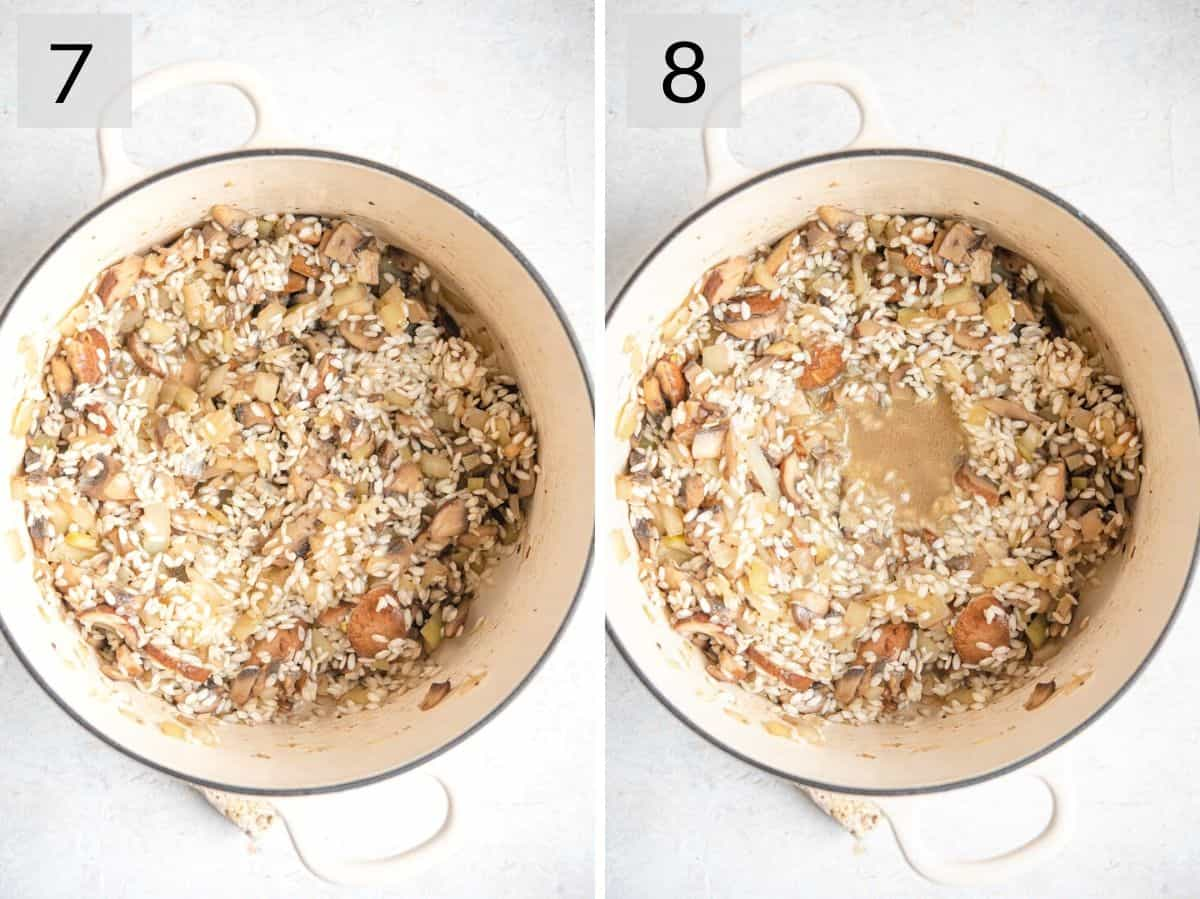Two photos showing how to add risotto rice and white wine to a pot