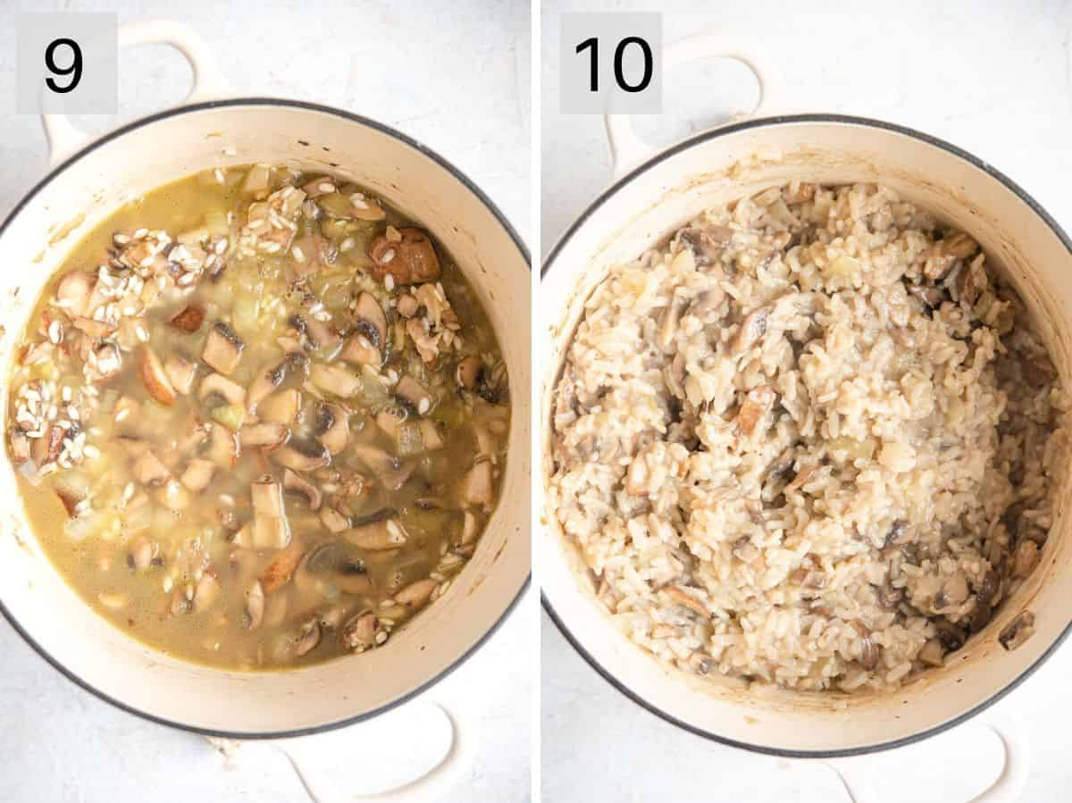 Two photos showing how to add stock to risotto what what it should look like