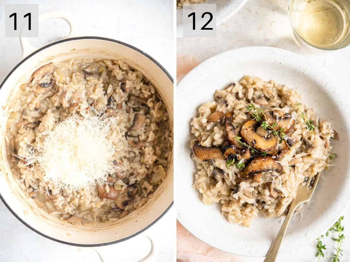 Two photos showing what mushroom risotto looks like when it's ready