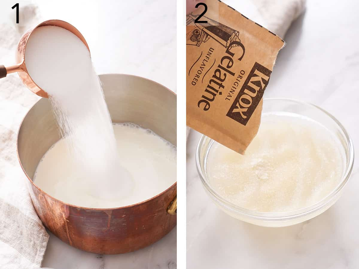 SUgar pouring into a pot of milk.