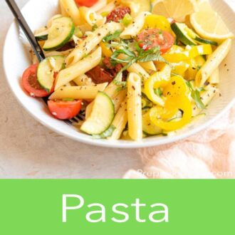 A pinterest graphic for pasta primavera