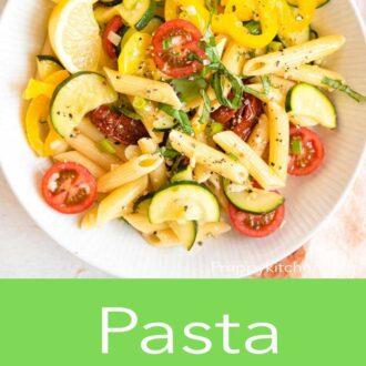 A pinterest graphic for pasta primavera