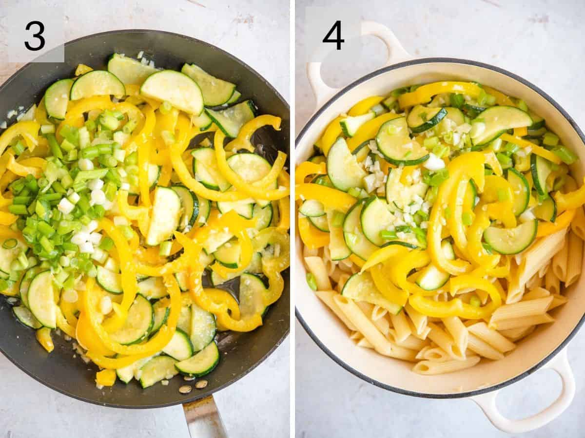 Two photos showing softened vegetables in skillet and added to cooked pasta