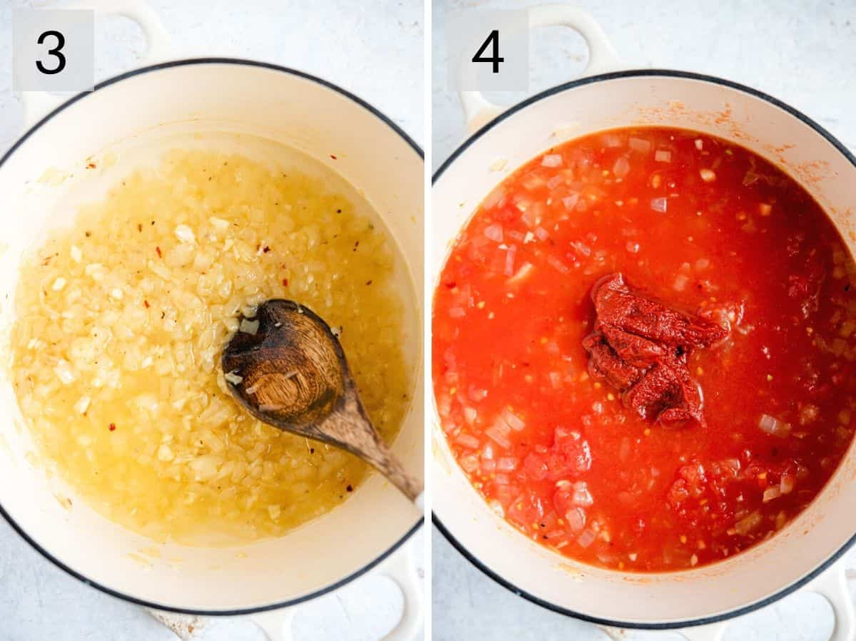 Two photos showing how to add vodka and tomatoes to make a sauce