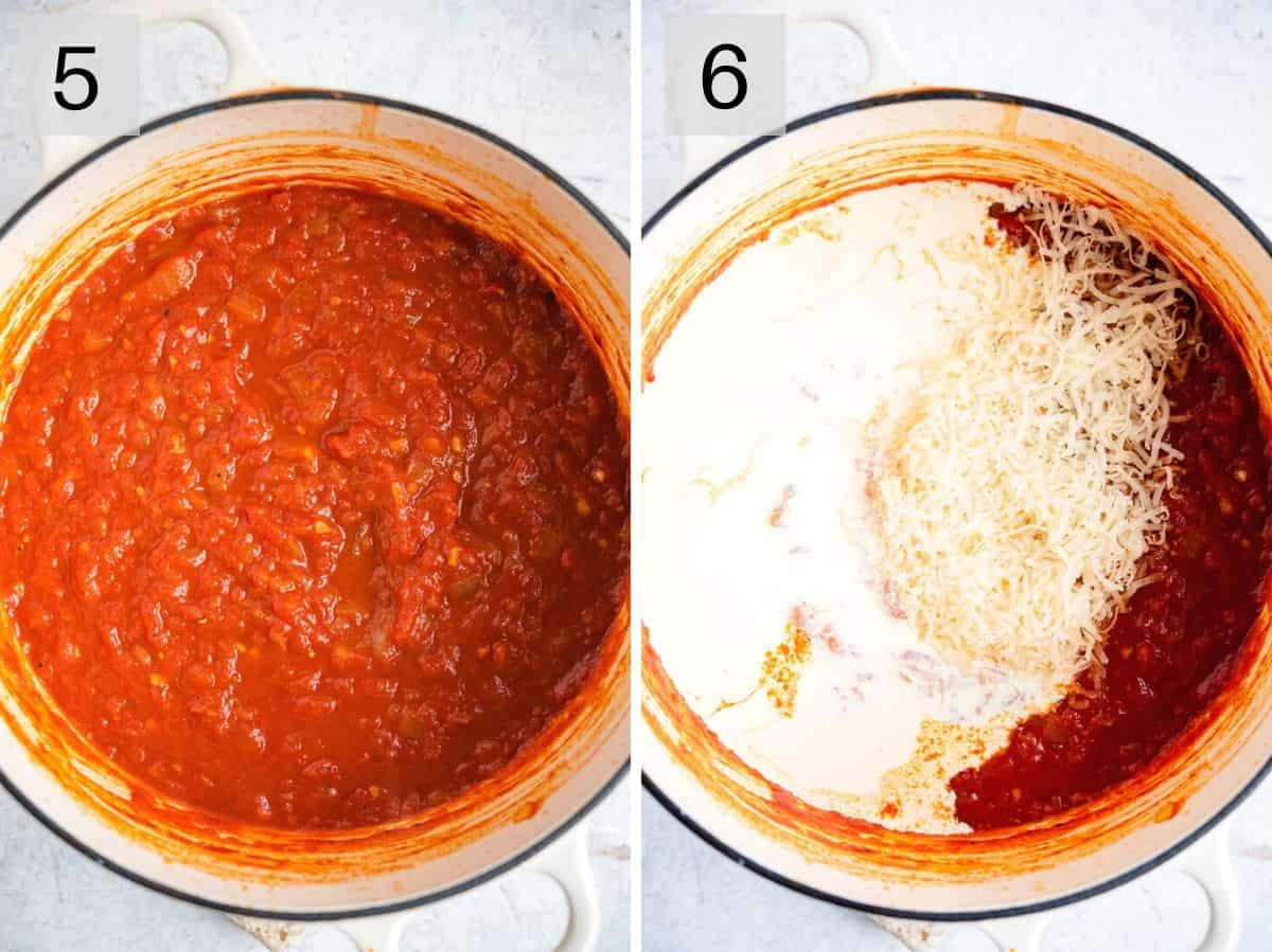 Two photos showing how to add cream into simmered tomato sauce