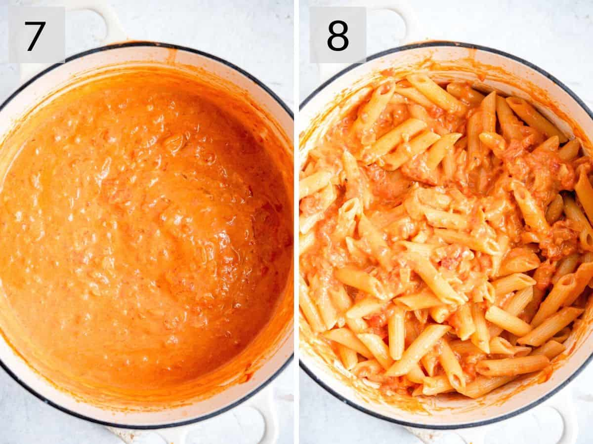 Two photos showing finished vodka sauce