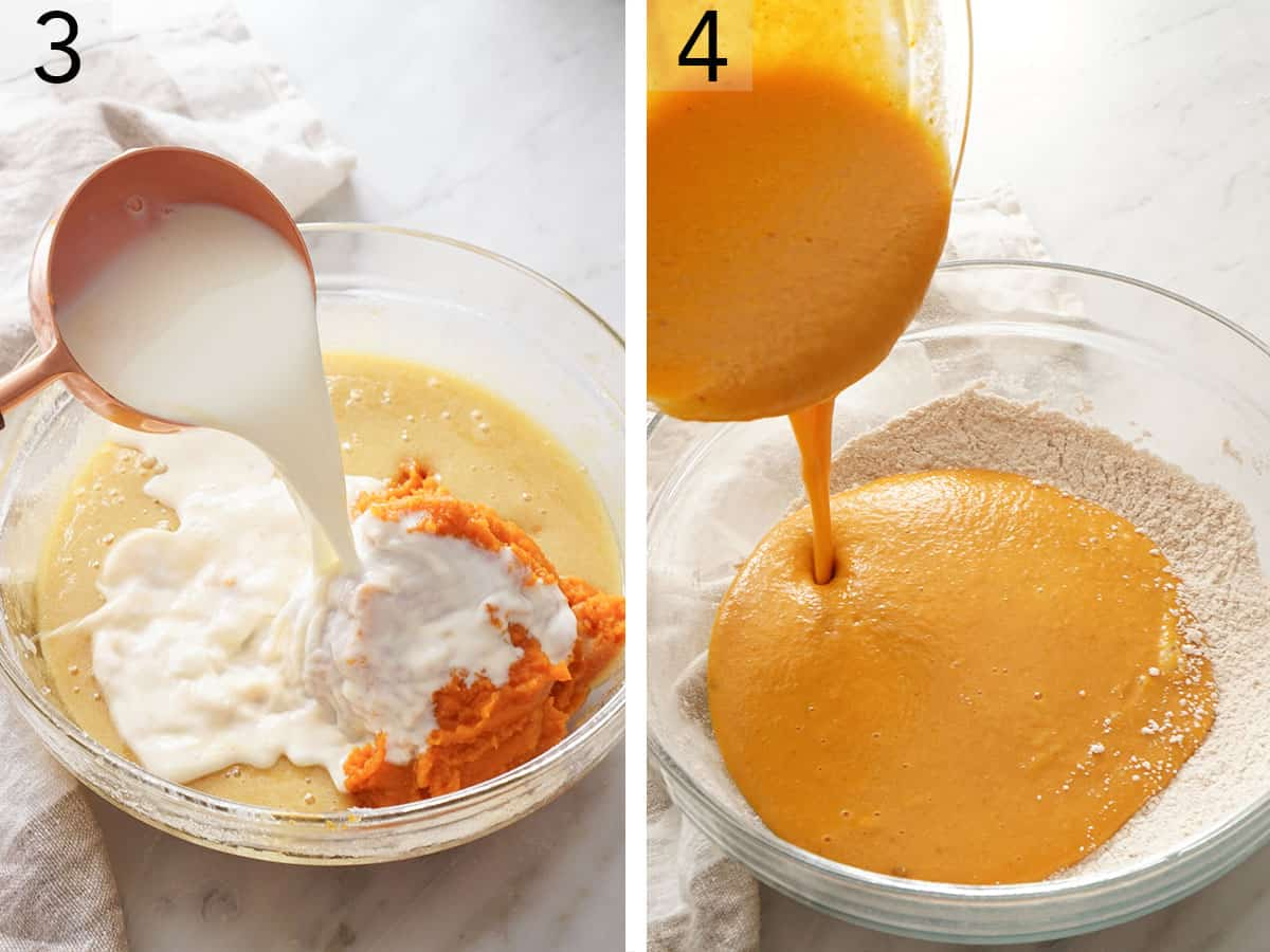 Pumpkin puree and sugar mixing in a glass bowl.
