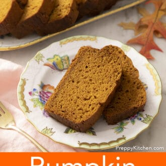Two pieces of pumpkin bread on a plate.