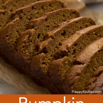 A loaf of pumpkin bread that has been cut into slices.