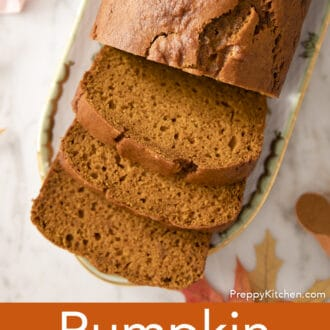 Soft and delicious pumpkin bread on a tray.
