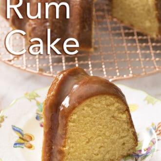 A golden bundt-shaped rum cake.