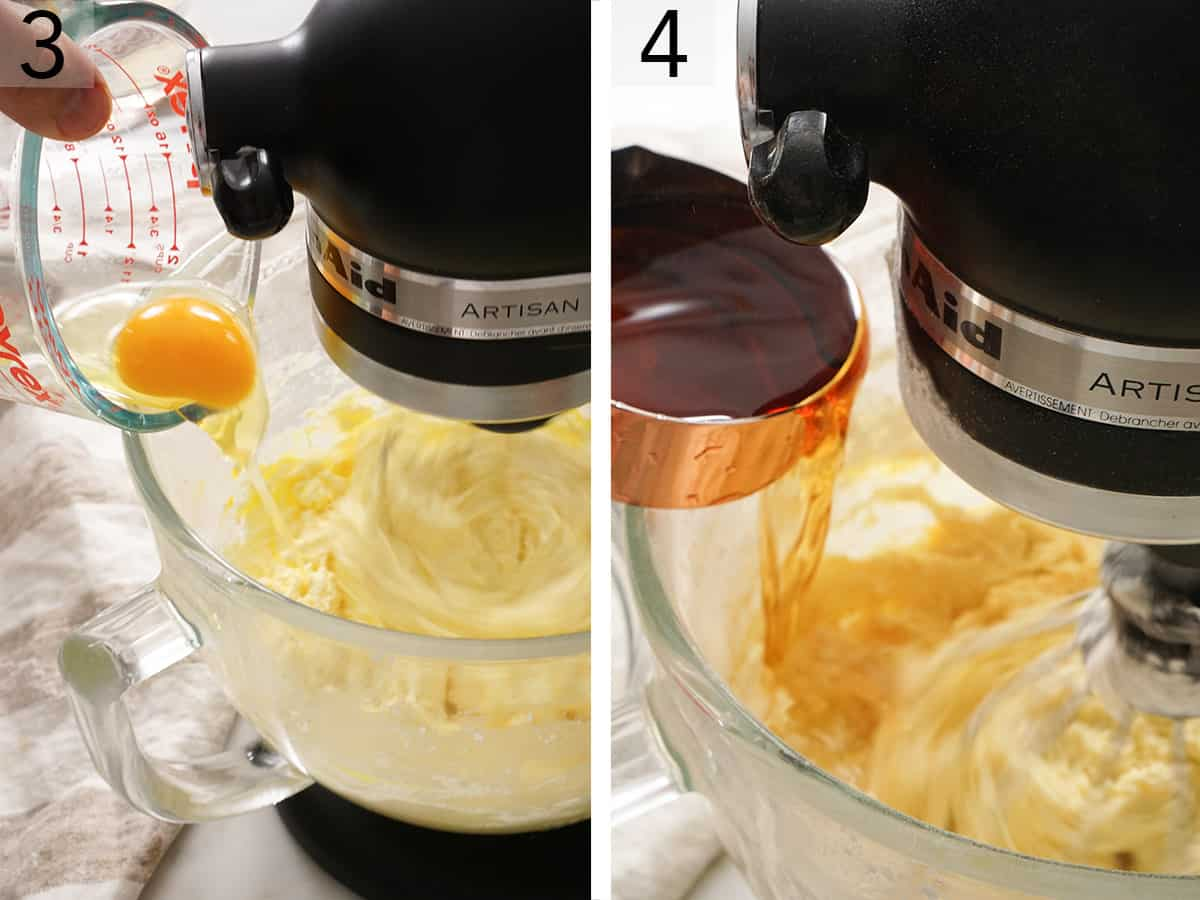 Eggs and rum pouring into the bowl of a stand mixer.