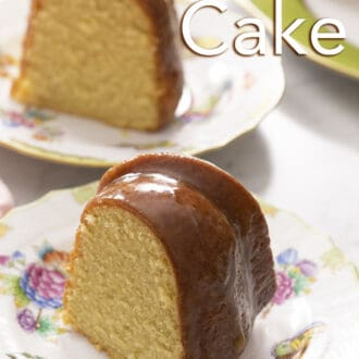 Two pieces of rum cake on plates.