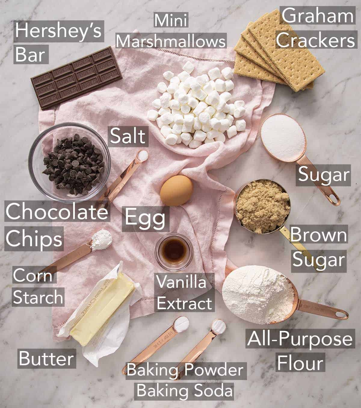 Ingredients for making S'mores Cookies on a counter.
