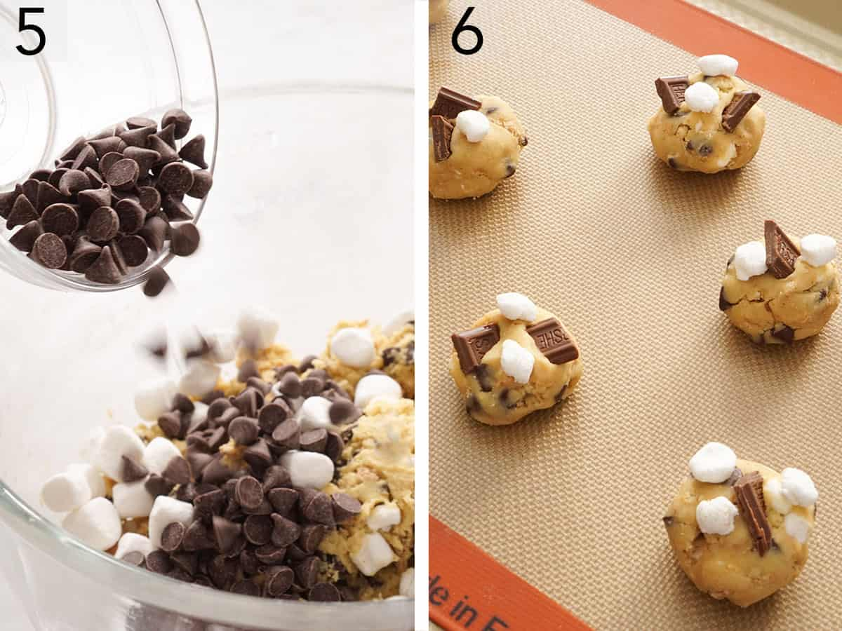 Chocolate chips and marshmallows added to cookie dough balls to make smores cookies.
