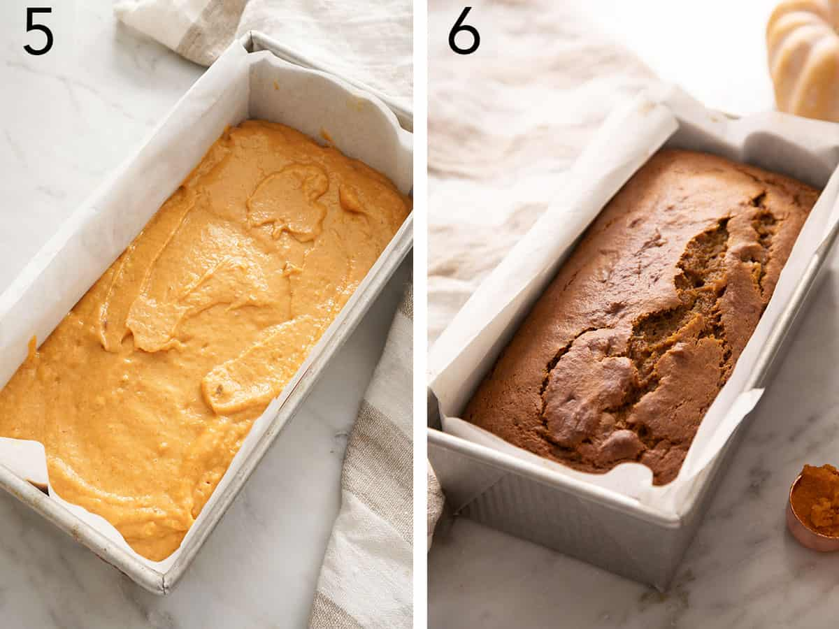 Pumpkin bread before and after baking.
