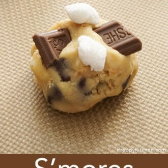 A s'mores cookie on a baking sheet before going into the oven.