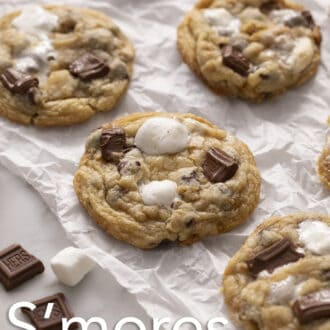 A group of S'mores cookies on parchment paper.