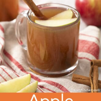 A glass mugs of apple cider with apple slices and a cinnamon stick.