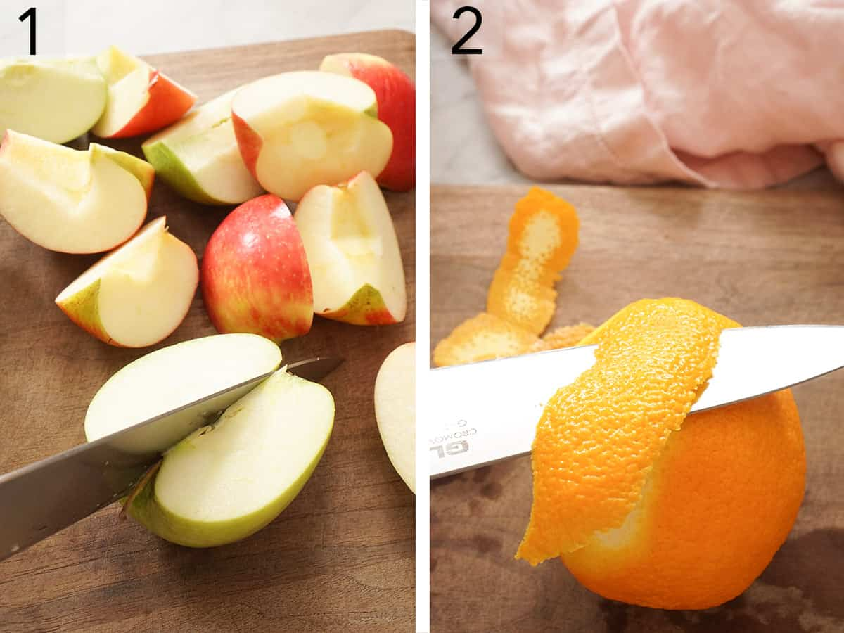 Apples getting quartered and an orange getting cut.