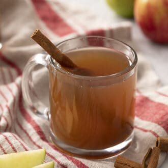 A glass mug of apple cider with a stick of cinnamon.