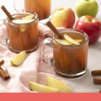 Apple cider glasses garnished with apple slices and cinnamon sticks.