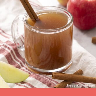 A glass mug of apple cider garnished with a cinnamon stick.