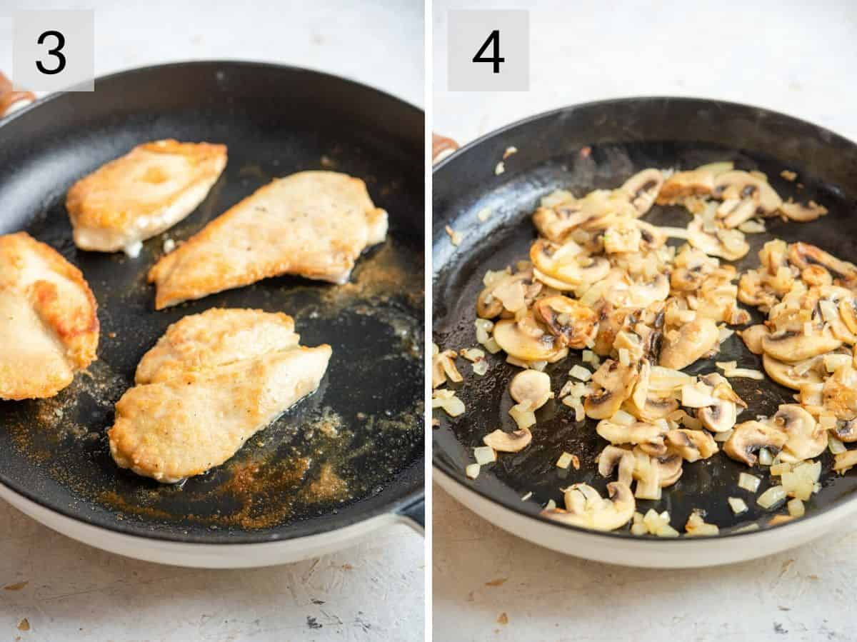 Two photos showing how to brown chicken and saute onions and mushrooms