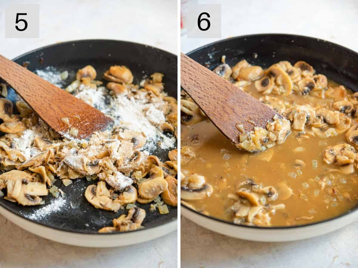 Two photos showing how to make marsala wine sauce