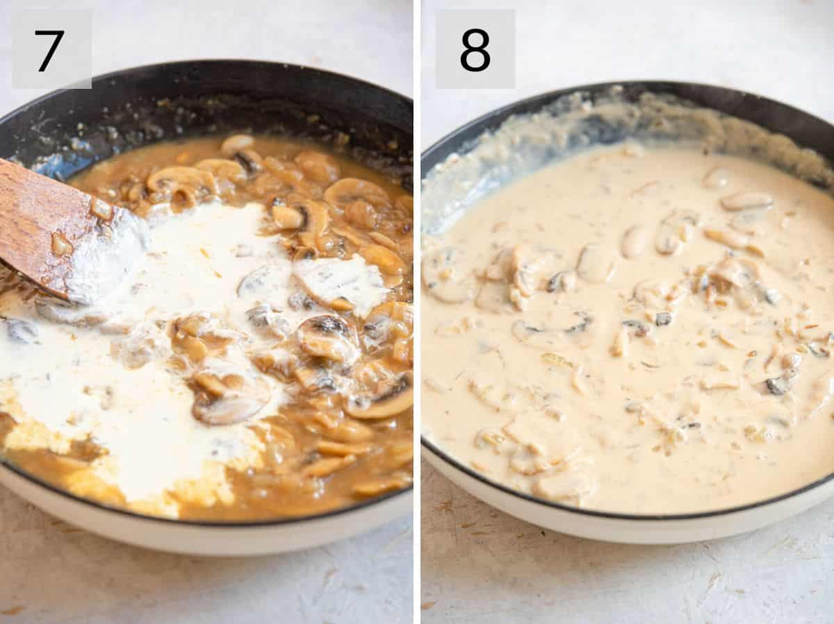 Two photos showing how to make a thick and creamy sauce with mushrooms and marsala