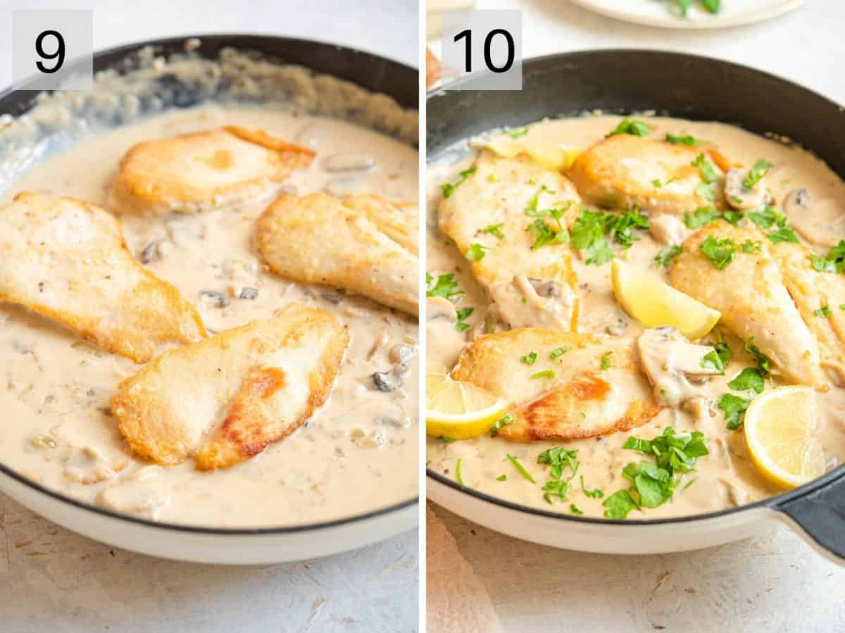 Two photos showing what cooked chicken marsala should look like