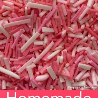 Vibrant pink homemade sprinkles.