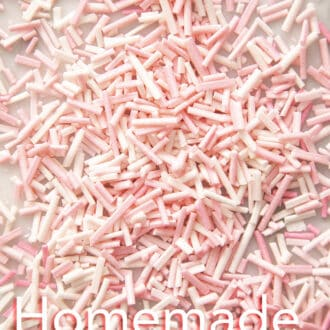 pink and white homemade sprinkles.
