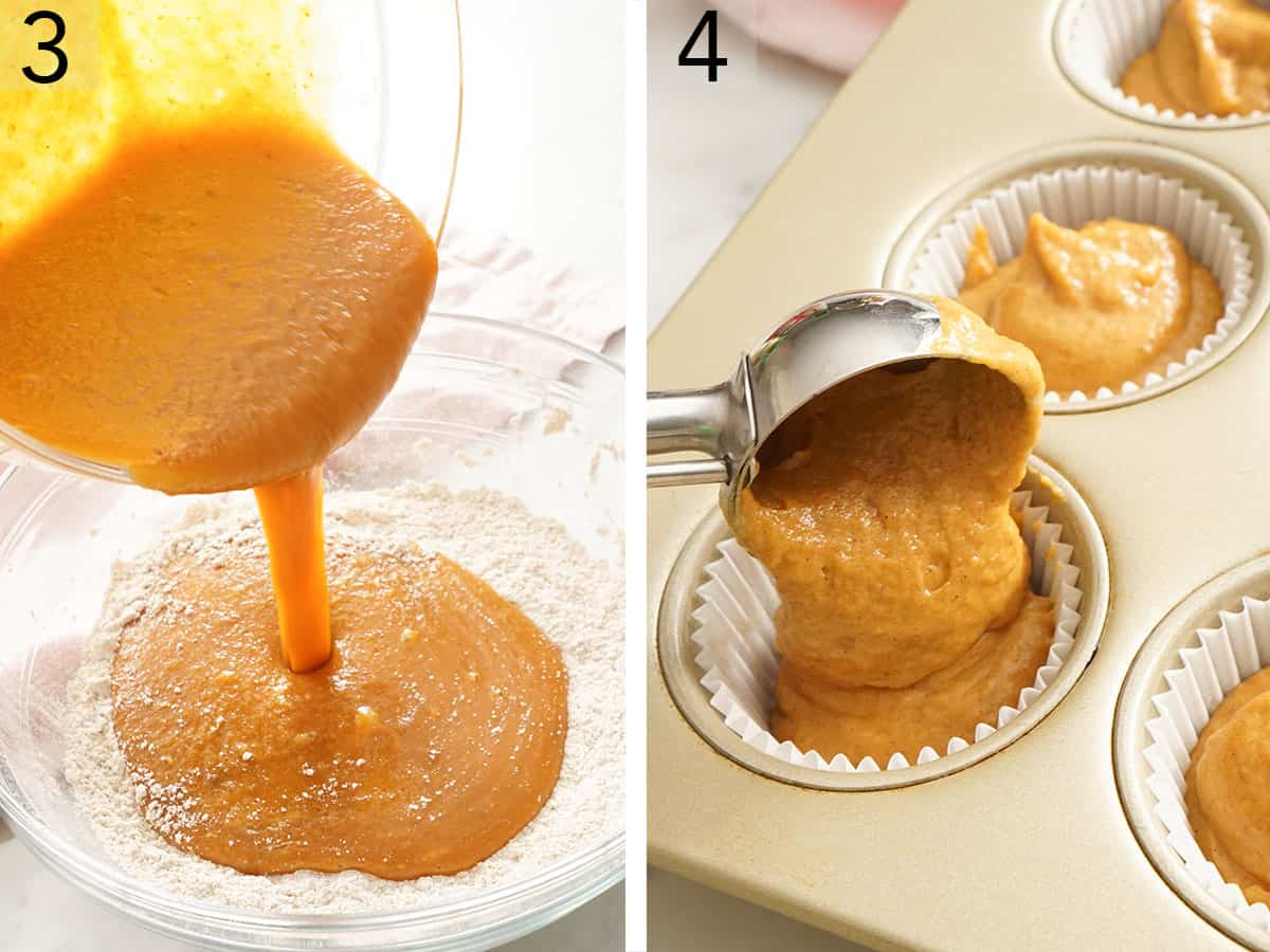 An ice cream scooper filling muffin papers with pumpkin muffin batter.